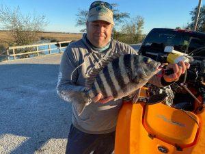 Kayak angler shows off sheepshead